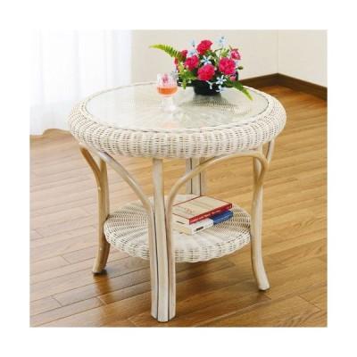 籐家具 ラタン テーブル ガラステーブル リビングテーブル センターテーブル コーヒーテーブル 棚付きテーブル 籐丸テーブル 幅60cm ホワイト t130
