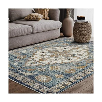 Blue & Beige?Traditional Medallion 3' x 5' Area Rug, Porto Collection - Vintage Style Abani Rugs Turkish Accent Rug