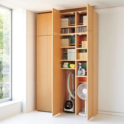 日用品もしまえる頑丈段違い書棚(本棚) 幅60cm 高さ180cm ナチュラル