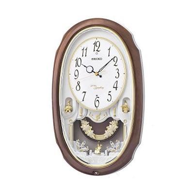 セイコー クロック 掛け時計 電波 アナログ 16曲 メロディ 飾り振り子 茶マーブル 模様 AM260A SEIKO