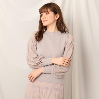 クチュール ブローチ Couture brooch シアープリーツ袖ニット (ライトグレー)