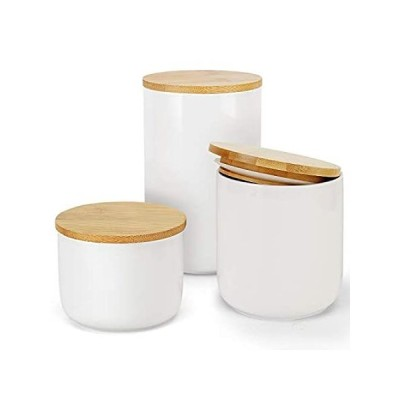 特別価格セラミック食品保存容器 竹製蓋付き キャンディ保存 3個好評販売中