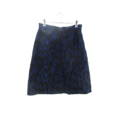 【中古】ユナイテッドアローズ UNITED ARROWS スカート フレア ひざ丈 総柄 40 青 ブルー /CK レディース 【ベクトル 古着】