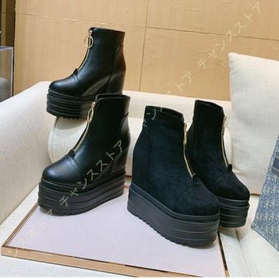 ショートブーツ レディース ブーツ 厚底 前厚 ストーム インヒール 美脚 靴 くつ おしゃれ ハイヒール ブーティ アンクルブーツ 歩きやすい 痛くない 厚底