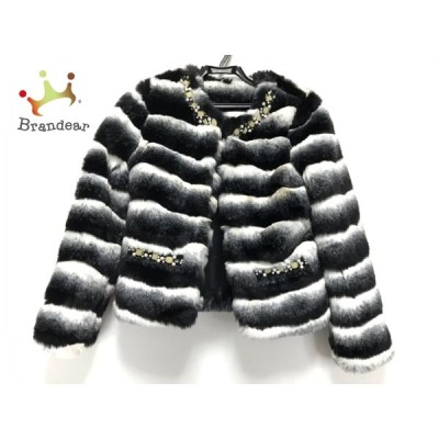 ミシェルマカロン コート サイズXS レディース 訳あり 黒×白 フェイクファー/ビジュー  スペシャル特価 20210126