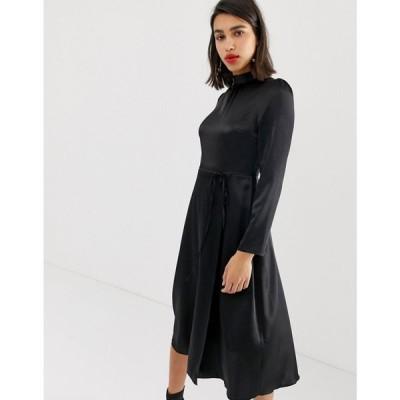 リバーアイランド River Island レディース ワンピース ワンピース・ドレス midi dress with tie waist in black satin Black