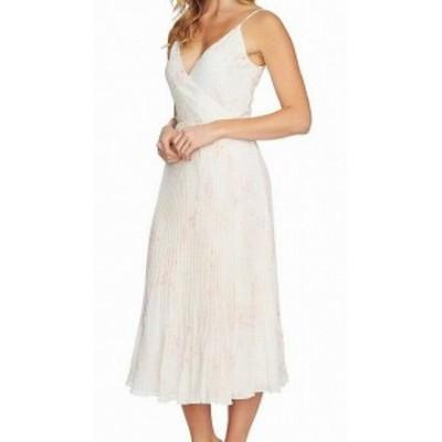 ファッション ドレス 1. State NEW White Ivory Printed Women Large L Chiffon Wrap Dress