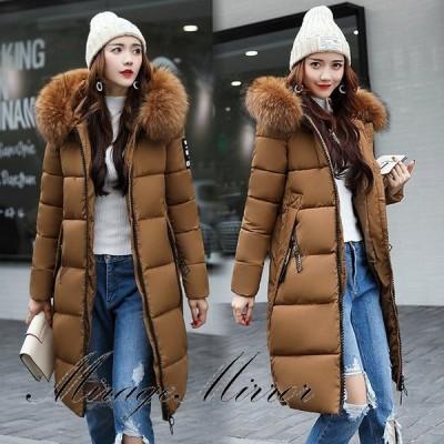 中綿ジャケット 中綿コート ロング丈 冬用 レディース アウター 暖かい 防風防寒 ファー付フード オシャレ 厚手 大きいサイズ 軽量 着痩せ 6色