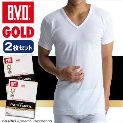 2枚セット BVD V首半袖シャツ スッキリタイプ GOLD アンダーウェア/メンズ/Vネック/綿100%