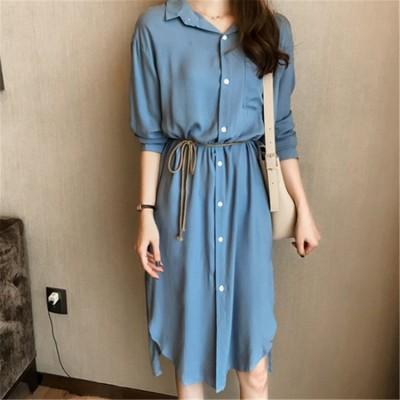 🌈最安値新品女性服 追加好評 🌈  日系ファッションレディース 通勤 細ベルトつきシャツワンピース シンプル 歩きやすい シックな魅力、着まわし抜群のシャツ ロングワンビース