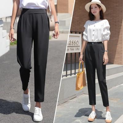 スーツのズボンの女性のレジャー2020 9分のゆったりとした高腰のまっすぐな筒のダイコンは垂れ下がって黒のハロンの無地 通勤 スパッツ ズボン レディースファッション 韓国ファッション