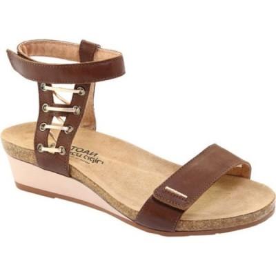 ナオト Naot レディース サンダル・ミュール アンクルストラップ ウェッジソール Wizard Ankle Strap Wedge Sandal Toffee Brown Leather/Rose Gold