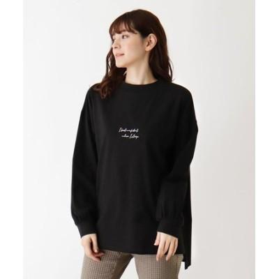 【M-LL】綿天竺モックネックロゴTシャツ