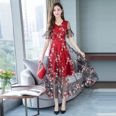 送料無料 ワンピース 半袖 ロング丈 シースルー フォーマル 大きいサイズ シアー 花柄刺繍