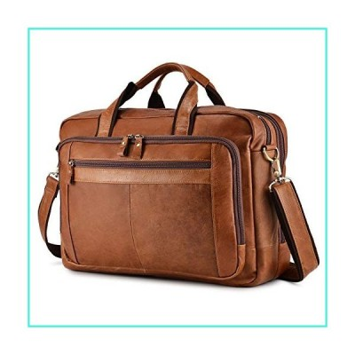 """【新品】BAIGIO Men's Leather 17"""" Laptop Business Briefcase Shoulder Tote Bag Portfolio Satchel Lawyers Briefcases for Men (Tan-2)(並行輸入"""
