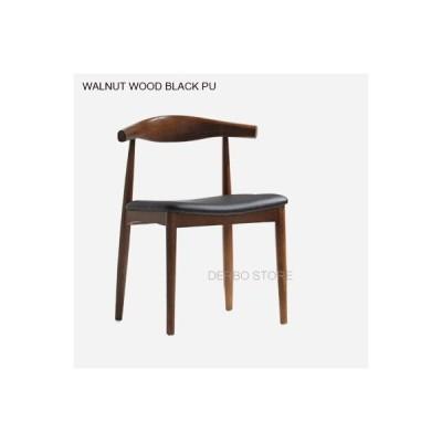 人気のモダンで有名なデザインのダイニングルームの家具ソリッドアッシュウッドチェアファッションロ Walnut W Black PU