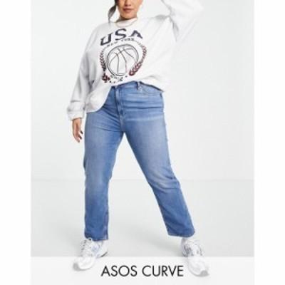 エイソス ASOS Curve レディース ジーンズ・デニム ボトムス・パンツ ASOS DESIGN Curve high rise sassy cigarette jeans in bright mid