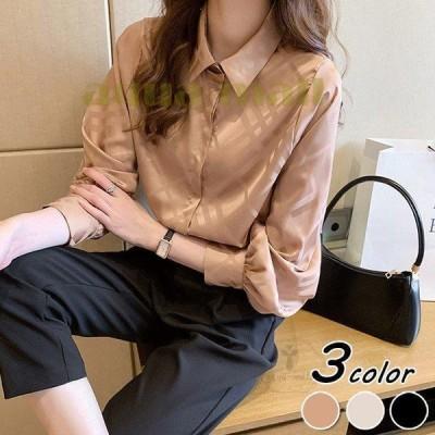 ブラウス レディース きれいめ 40代 春夏 上品 シルク風ブラウス ビジネスシャツ トップス 長袖 韓国風 シャル 大きいサイズ 大人 Tシャツ オシャレ 3色