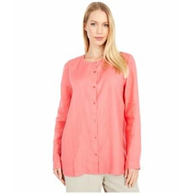 エイリーンフィッシャー レディース シャツ トップス Round Neck Shirt Pink Grapefruit