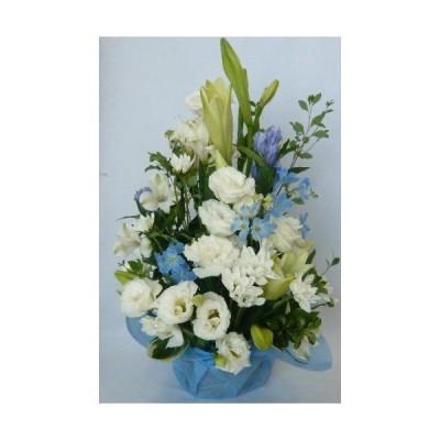 クール便対応お盆の花 ユリが入ったお供え花 ホワイト&ブルー・紫