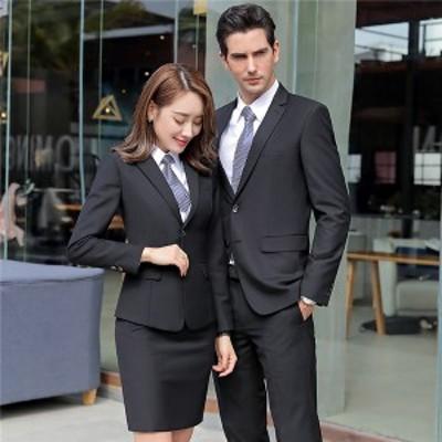 メンズスーツ レディーススーツ ビジネススーツ 2点セット フォーマル おしゃれスーツ 長袖 就活 面接 ズボンスーツ OL セットアップ 大
