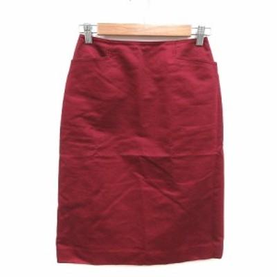 【中古】クミキョク 組曲 KUMIKYOKU タイトスカート ひざ丈 2 赤 レッド /KB レディース