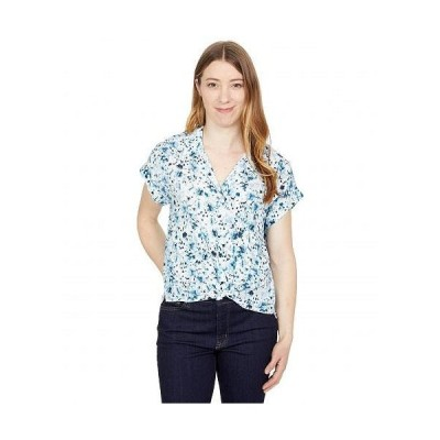 Lucky Brand ラッキーブランド レディース 女性用 ファッション ボタンシャツ Short Sleeve Tie Front - Blue Multi