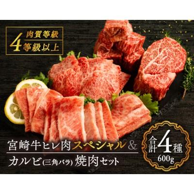 BC17 宮崎牛ヒレ肉スペシャル&カルビ(三角バラ)焼肉セット《合計600g》
