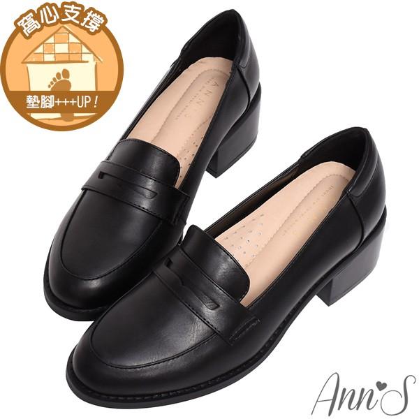 Ann'S學院提案-質感素面粗跟5cm紳士鞋-黑