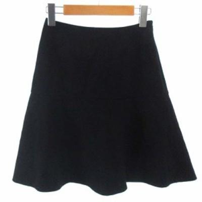 【中古】未使用品 イネド INED フレア ミニ スカート ウール ネイビー 紺 5 レディース