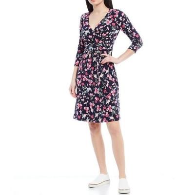 ジュールズ レディース ワンピース トップス Jude Floral Wrap Front 3/4 Sleeve V-Neck Dress