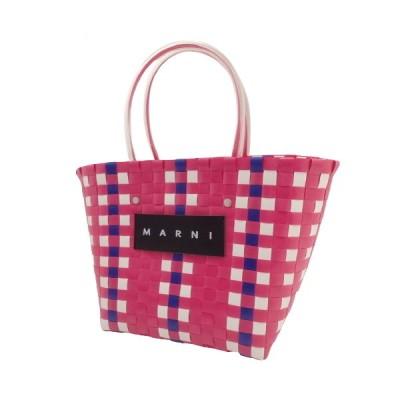MARNI マルニ フラワーカフェ ピクニックバッグ トート ハンドバッグ カゴバッグ チェック柄 ピンク ホワイト白 40800058070【アラモード】