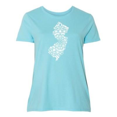 レディース 衣類 トップス New Jersey Silhouette Mandala Women's Plus Size T-Shirt Tシャツ