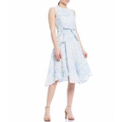 カルバンクライン レディース ワンピース トップス Embroidered Floral Pattern Cotton Handkerchief Hem A-Line Sleeveless Belted Midi
