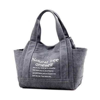 [EMSO] レディース トートバッグ 帆布 キャンバス a4 ショルダーバッグ かたかけバッグ マザーズバッグ (グレー)