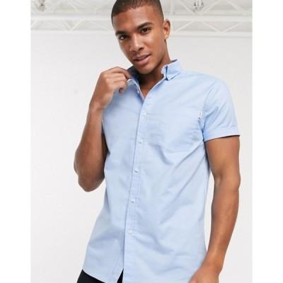 トップマン メンズ シャツ トップス Topman short sleeve oxford shirt in light blue