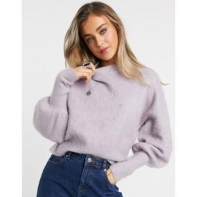 エイソス レディース ニット・セーター アウター ASOS DESIGN sweater with volume sleeves in brushed knit in lilac Lilac