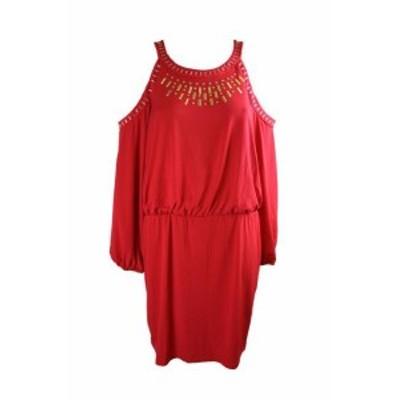 Red  ファッション ドレス Thalia Sodi Red Cold-Shoulder Embellished Blouson Dress XL