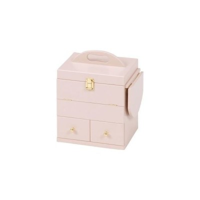 ds-1314394 コスメボックス 木製 ミラー/バタフライ式ミニテーブル付き ピンク  (ds1314394)