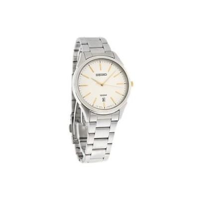 腕時計 セイコー Seiko クォーツ メンズ シルバー ダイヤル Two トーン ブレスレット ドレス 腕時計 SGEG71