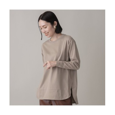 (EUCLAID/エウクレイド)綿天竺ロングスリーブTシャツ/レディース ベージュ