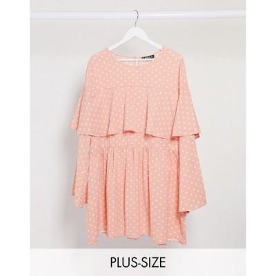 ラスーラ ドレス 大きいサイズ レディース Lasula Plus polka dot shift dress in pink エイソス ASOS ピンク