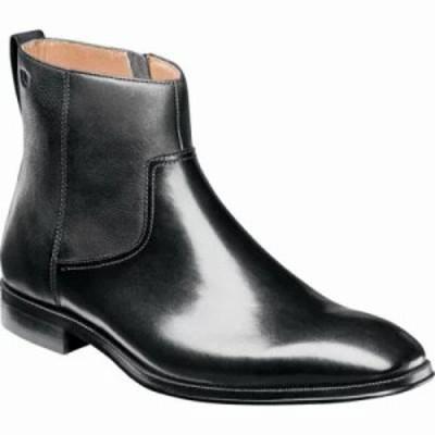 フローシャイム ブーツ Belfast Plain Toe Side Zip Boot Black Leather
