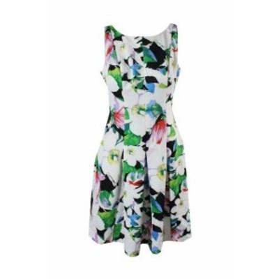 Americain  ファッション ドレス Americain Living Blanc Multi sans Manche Imprime Floral Neoprene Robe Trapeze 4