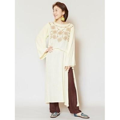 【チャイハネ】 花刺繍ロングスリットワンピース IDS-0108 レディース ホワイト Free CAYHANE
