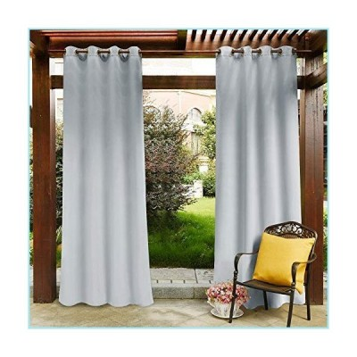 新品PONY DANCE Outdoor Indoor Curtain - Fade Resistant Drapery Panel with Grommet Rust Proof for Patio Privacy Waterproof Fabric, 52-inch