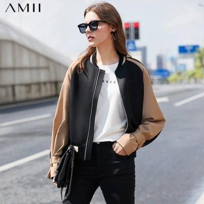 海外輸入アパレル Amiiミニマリズム秋冬ファッションレディースジャケットカジュアルスタンドカラースプライスフルスリーブレディースジャケットカジュアル