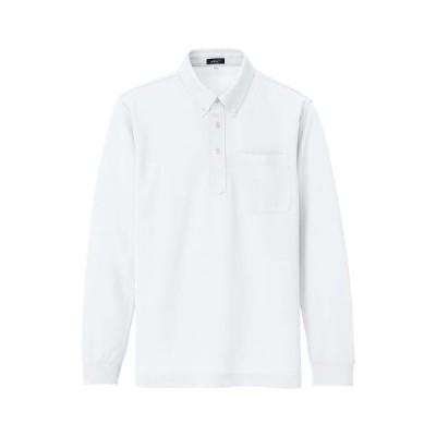 [アジト] 吸汗速乾長袖BDポロ ホワイト 10598 (ホワイト 3L)