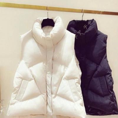 ダウンジャケット レディース スタンド襟 軽量 ショートダウンベスト 黒 無地 秋冬 アウター シンプル 可愛い 軽い 防寒 ベスト ショート丈 暖かい 防寒対策