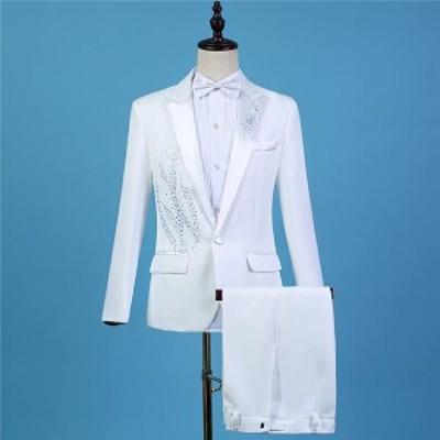 パーティースーツ タキシード 白 男性用スーツ メンズ スーツ 大会 結婚式 演奏会 指揮者用 演出服 王子様 ステージ衣装 カラオケ 舞台衣